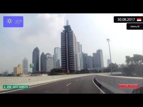 Driving through Jakarta (Indonesia) from Jakarta Barat to Jakarta Selatan 30.08.2017 Timelapse x4