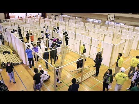 熊本の避難所に布の仕切り 坂茂さん代表のNPOが設置