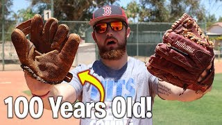 100 Year Old Baseball Glove vs. Modern Day Baseball Glove! IRL ...