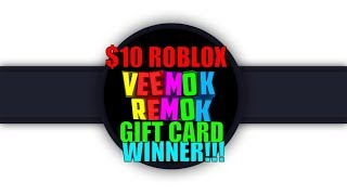 $10 Roblox gift card winners Announcement!!!