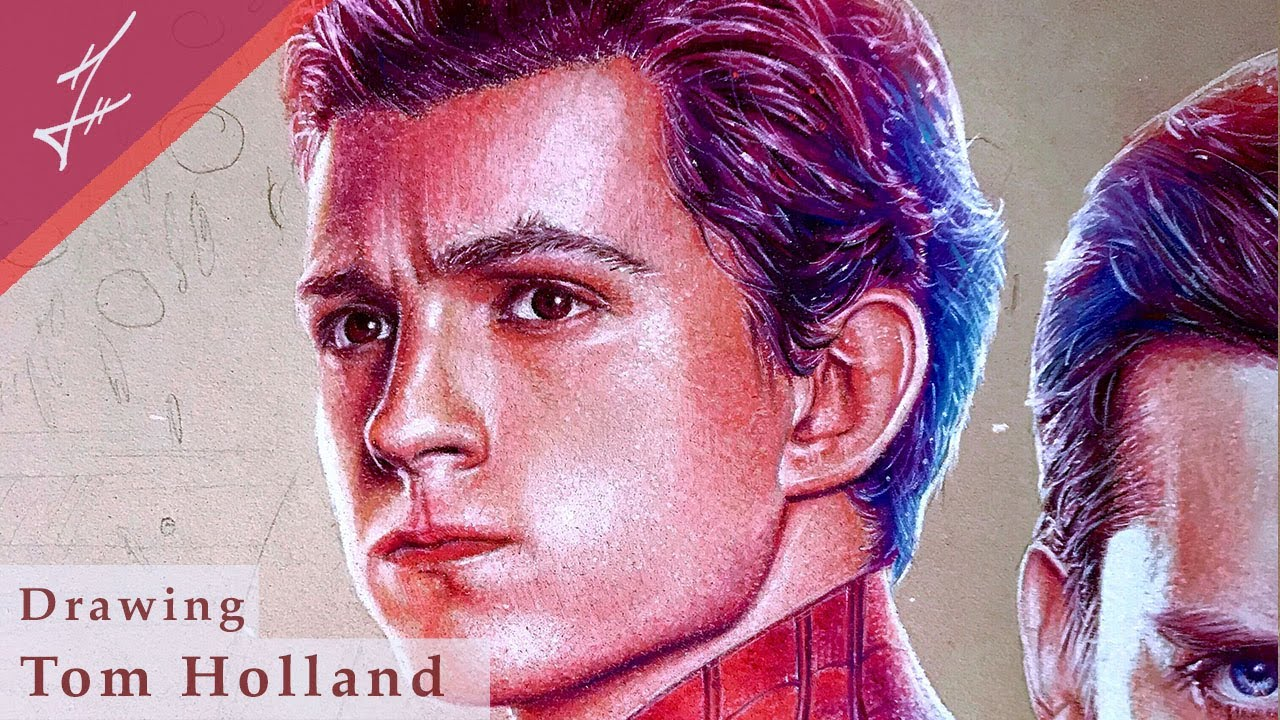 Drawing Tom Holland Spiderman- MCU Spiderverse Poster (Part 3) | Time-lapse Speed Drawing |