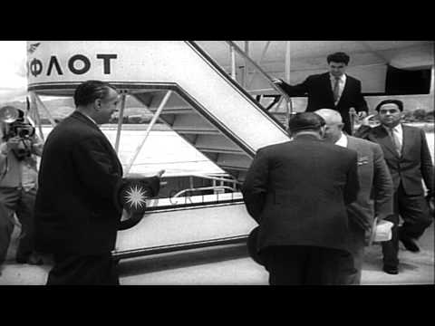 The officers greet and welcome Premier of the Soviet Union,Nikita Khrushchev duri...HD Stock Footage
