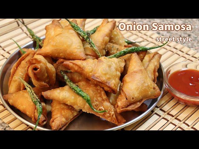ಈರುಳ್ಳಿ ಸಮೋಸ ತುಂಬ ಸುಲಭವಾಗಿ ಮಾಡಿ ಮನೆಯಲ್ಲೇ / Onion Samosa Street Style with simple folding technique