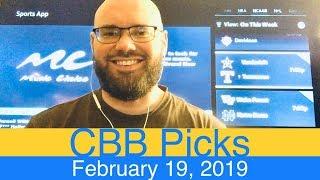 CBB Picks (2-19-19) | College Basketball NCAAB Expert Predictions Video CBK NCAAM | Men's MBB Vegas