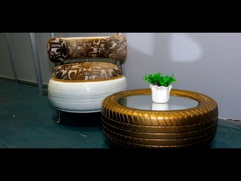 Muebles hechos con gomas de autos youtube for Coches con silla para carro