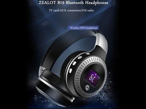 Zealot B19 Digital Display Stereo TF Card FM Radio AUX Wireless Bluetooth Headset Headphone With Mic