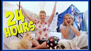24 HOUR OVERNIGHT CHALLENGE IN A HUGE BLANKET FORT || Taylor and Vanessa