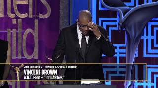 A.N.T. Farm's Vincent Brown wins the 2014 Writers Guild Award for Children's - Episodic & Specials
