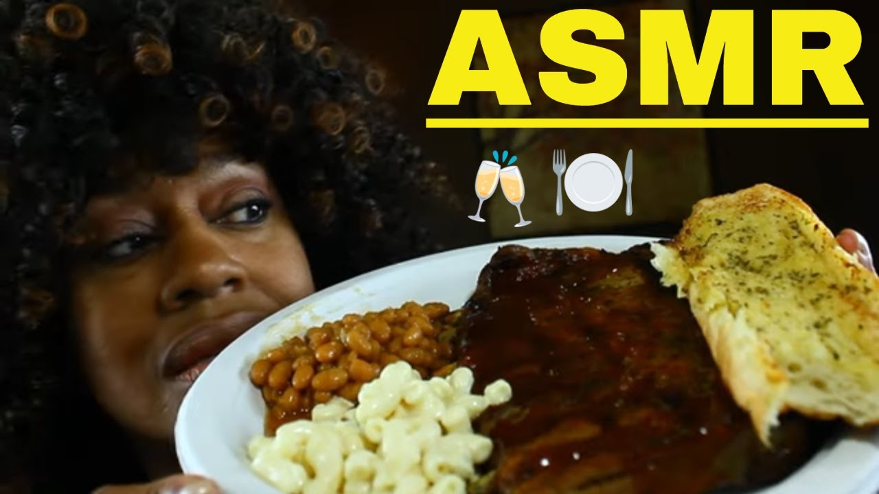 ASMR Eating Finger Licking Ribs 🥂🍖👅 Triggers Lip Smacking Eating Sounds