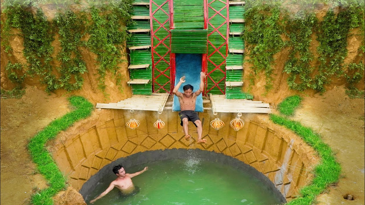 Primitive Survival With The Best Water Slide To Enter The Underground Swimming Pool