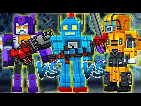 Pixel Gun 3D - Friendly Bot VS Aggressive Bot VS Old Robot (On The Mobile Device)