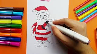 How To Draw Santa Claus With Christmas Gifts