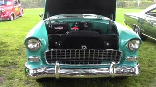 1955 Chevy Bel Air Four Door Sedan BluWht ClermontWinery101015