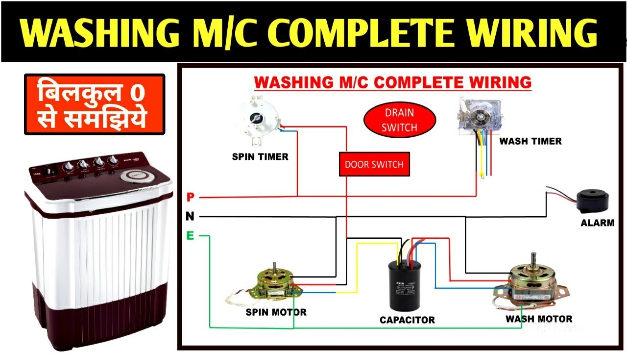 WASHING MACHINE COMPLETE WIRING STEP BY STEP! WASHING MACHINE WIRING -  YouTubeYouTube