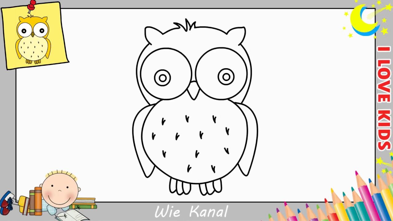 Eule Zeichnen Lernen Einfach Schritt Für Schritt Für Anfänger Kinder 3