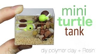 How to DIY Miniature Pet Turtle Tank Polymer Clay/Resin Tuto...