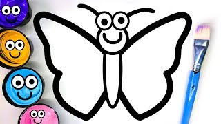 Painting Cute Butterfly and Dress Painting Pages, Learn Painting and to Color for Baby