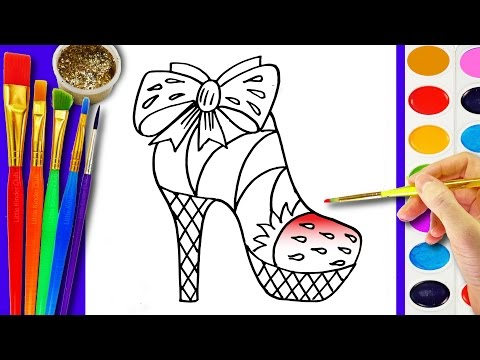 Thumbnail: Learn to Draw and Color a Strawberry Shoes Coloring Page for Kids learning Colors