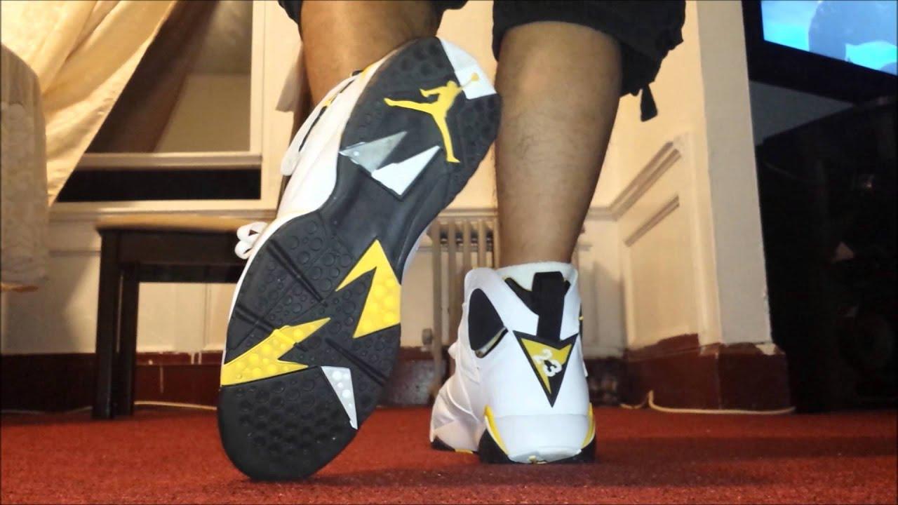 64617a37c9bd5f 2006 Womens Air Jordan Maize 7s On Feet Look - Review - YouTube