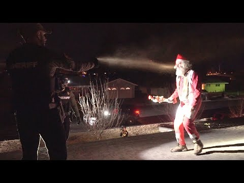MAN DRESSED AS SANTA GETS MACED TRYING TO BREAK INTO NEIGHBORS