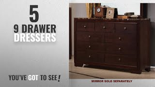 Top 10 9 Drawer Dressers [2018]: Coaster Home Furnishings Conner Transitional Faux Marble Top 9
