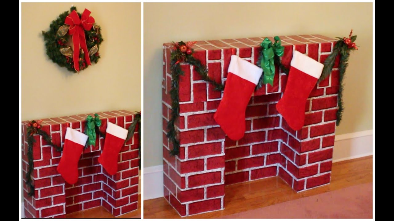 Cardboard Fireplace Decoration Christmas