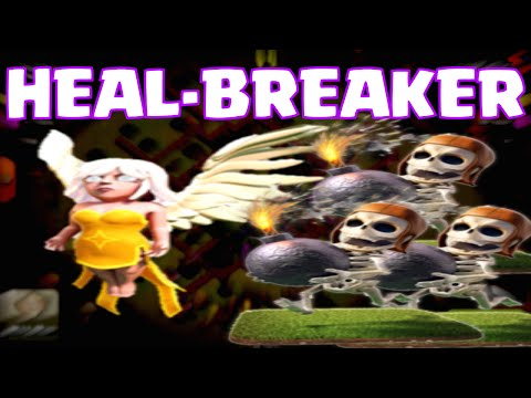 Clash Of Clans All Wallbreakers + Healers Clan Castle Defense VS. 200 Barbarians Attack