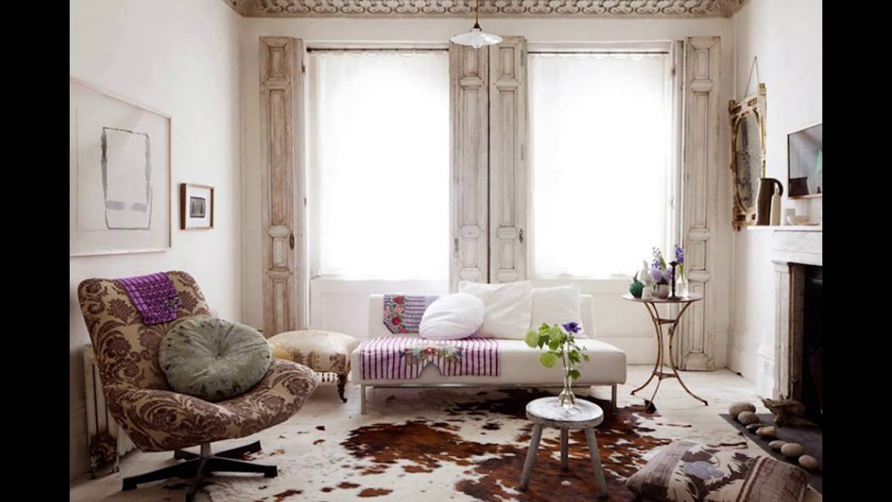 white shabby chic living room - YouTube