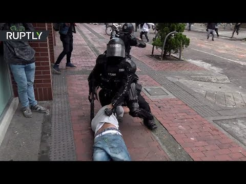 Students Violently Clash With Police Over University Rector Corruption In Bogota, Colombia