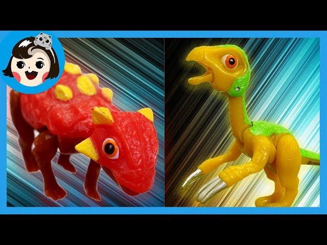 [A dda dda Toys] Dino mecard battle ,Ankylosaurus vs  Therizinosaurus  (for kids)