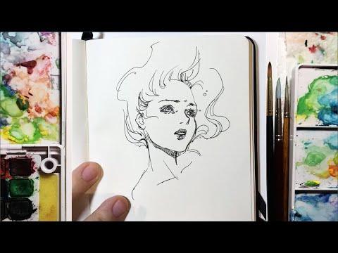 """Drowning"" - 5 minute Speed Pen Sketch Timelapse"