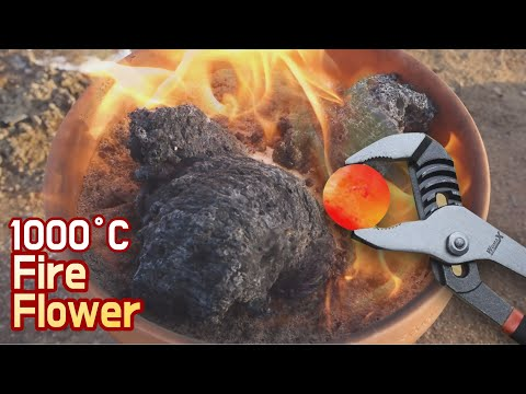 EXPERIMENT Glowing 1000 Degree METAL BALL VS White powder(?) 1000도 쇠구슬을 의문의 가루에 올려놨더니?