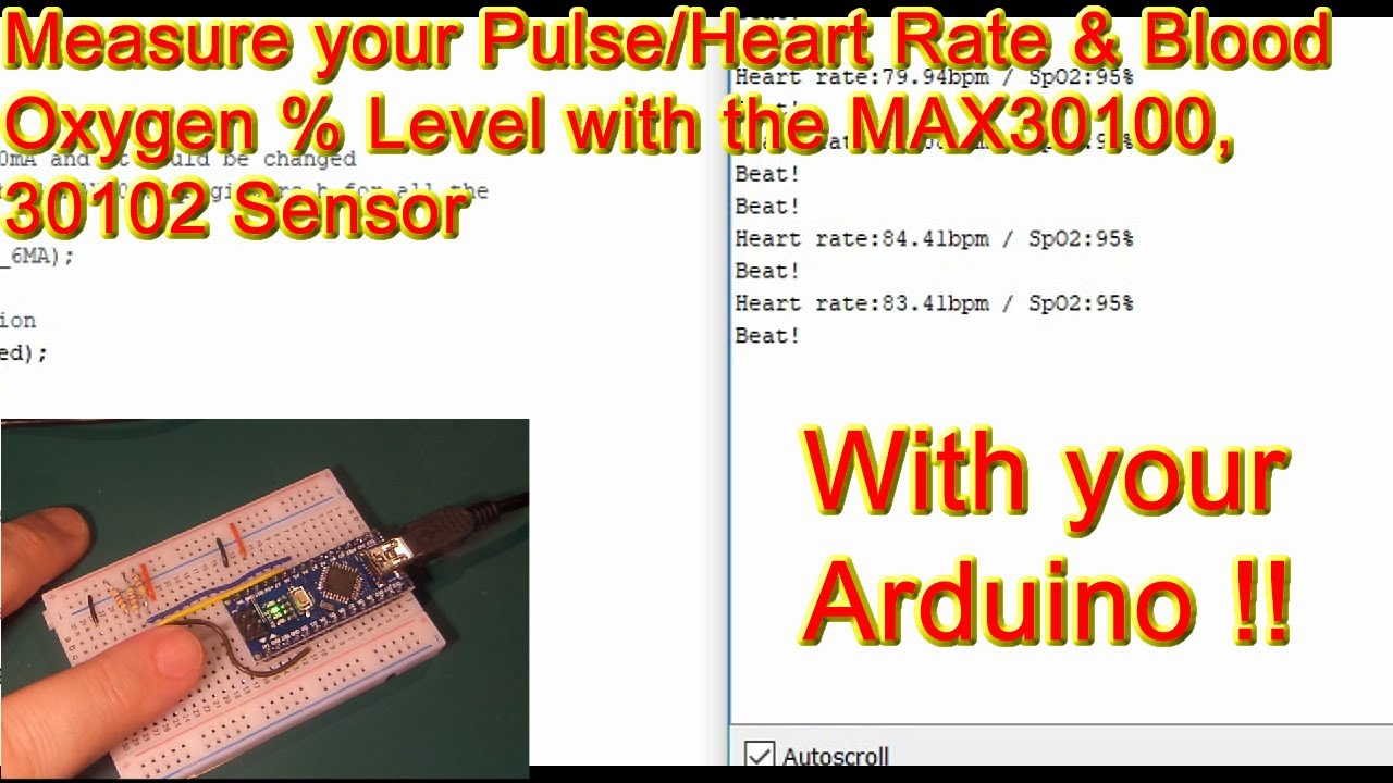 Measuring heart rate/pulse and Blood Oxygen % Level with your Arduino,  using the Max30100, MAX30102