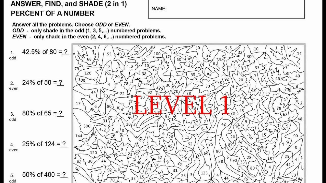 Help Video for Percent of a Number Art Worksheet Level 1 YouTube – Percent of a Number Worksheet