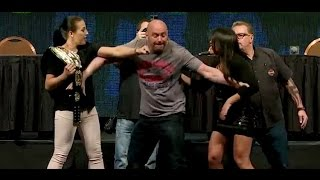 Dana White Gets Hit During Cormier vs. Jones and Jedrzejczyk vs. Gadelha Face Offs