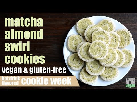 matcha almond swirl cookies (vegan & gluten-free) Something Vegan hot drink flavored cookie week