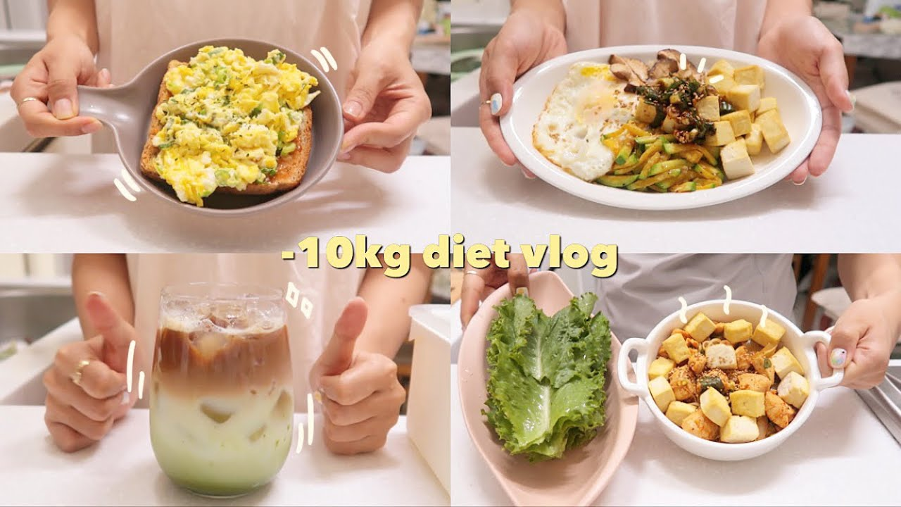 (sub)diet vlog95👩🏻🍳평생 가능한 맛있고 지속가능한 다이어트식단(두부비빔밥, 대파토스트,닭볶이)|홈카페|mukbang|food vlog|간헐적단식|다이어트레시피
