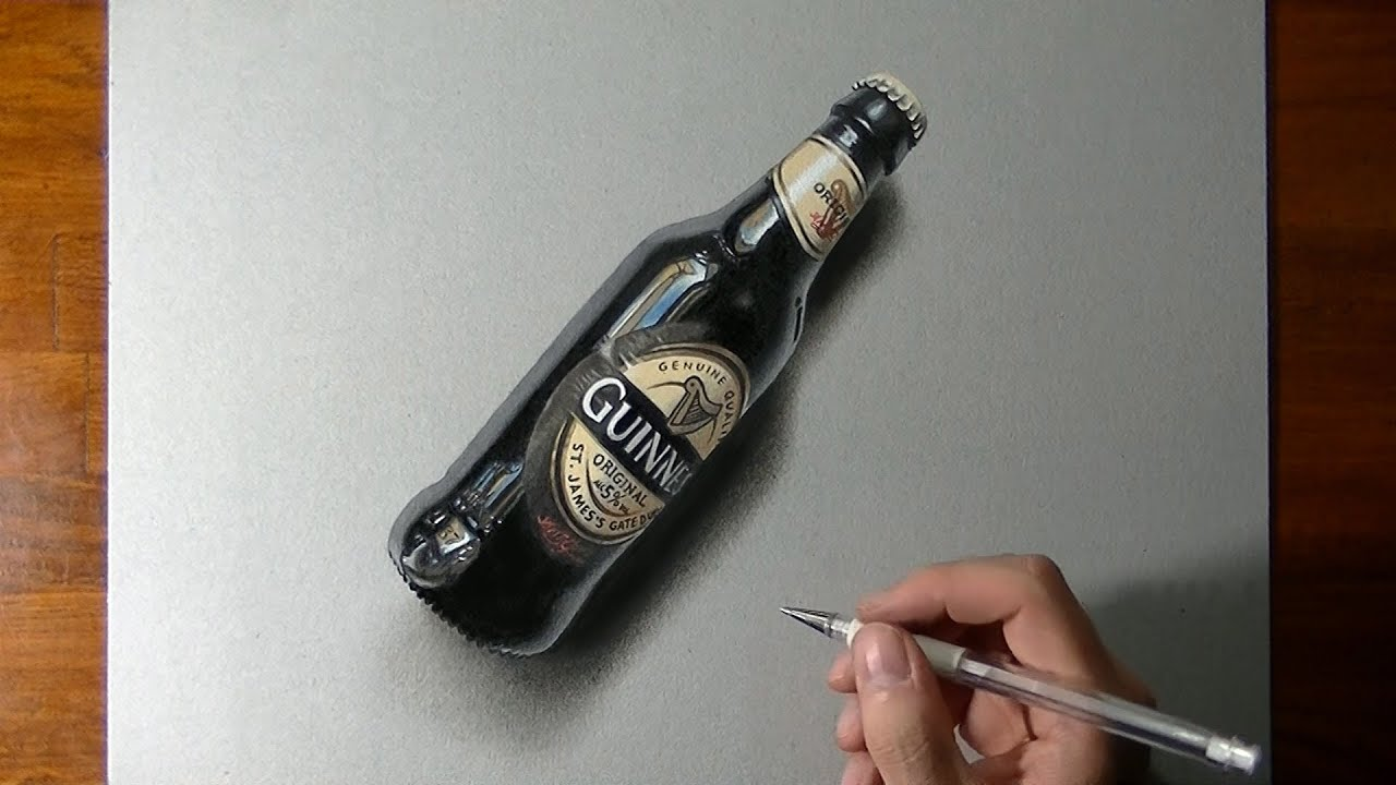 Drawing time lapse: a bottle of Guinness beer - YouTube