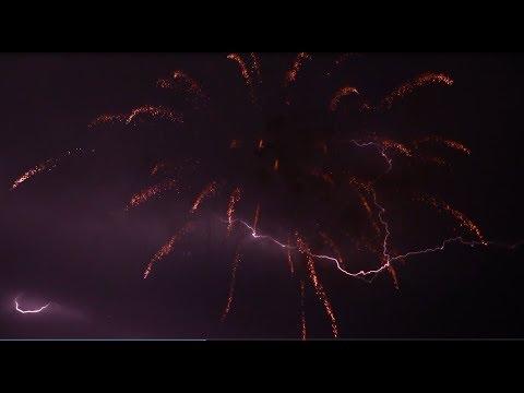 Feuerwerk zur Annakirmes in Gerolstein 2017 im Gewitterregen