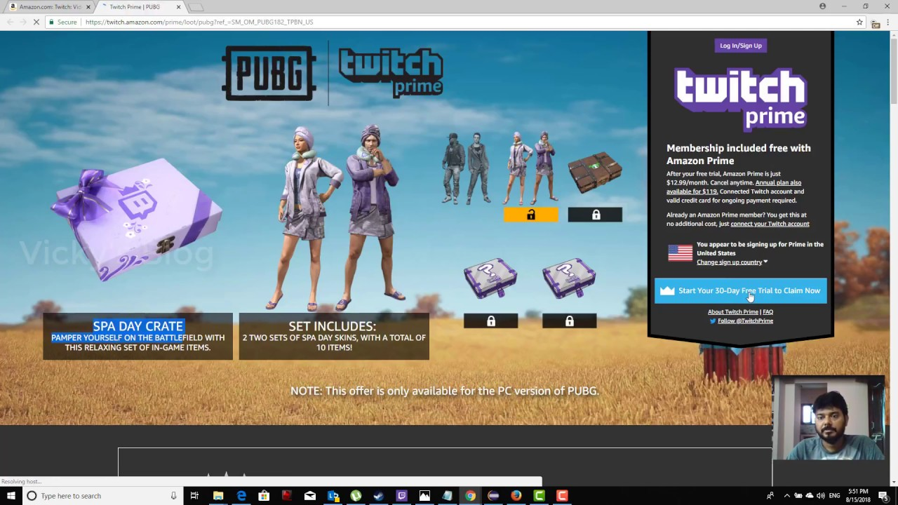 How to get PUBG(PlayersUnknown Battleground) Skins from Amazon Twitch Prime  Free?