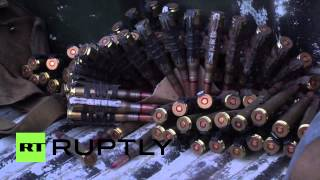 Ukraine: Militia patrol Gorlovka following bombardment