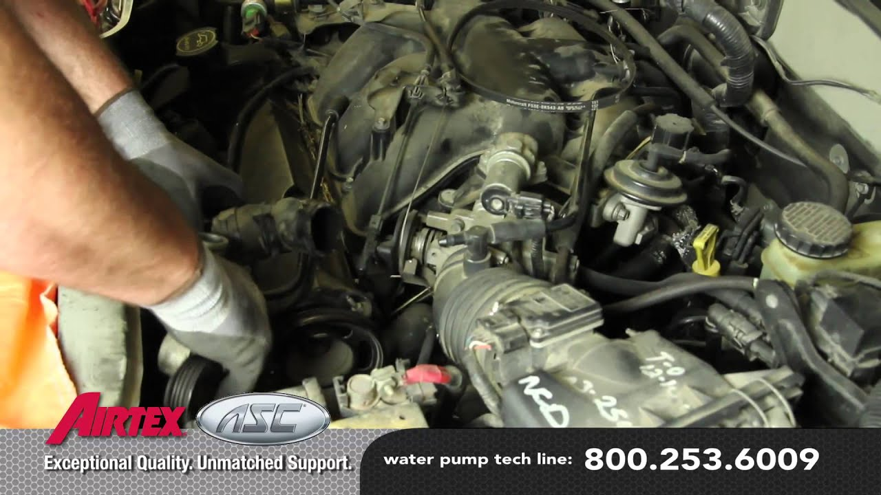 how to install a water pump ford 3 0l v6 wp 9035 aw4091 youtube rh youtube com Ford Fusion 3.0 V6 Ford 3.0L V6 Engine