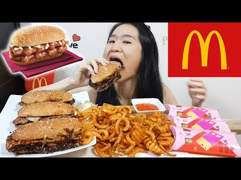 MCDONALD'S PROSPERITY FEAST!! Black Pepper Beef & Chicken Burgers, Curly Fries | Eating Show Mukbang