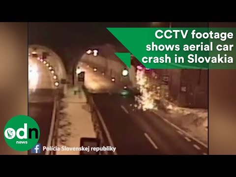 CCTV footage shows spectacular aerial car crash in Slovakia