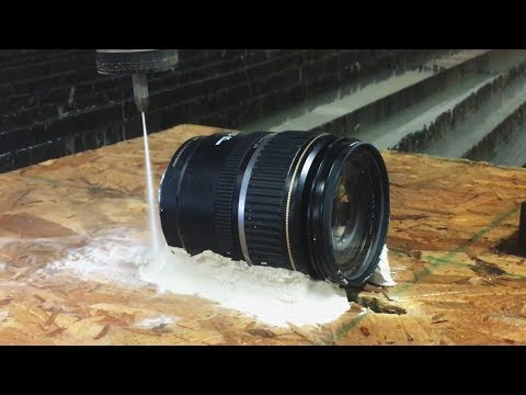Canon Camera Lens Cut In Half With A 60,000 PSI Waterjet