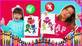 Laurinha no desafio colorindo com 3 cores PJ MASKS - 3 MARKER CHALLENGE