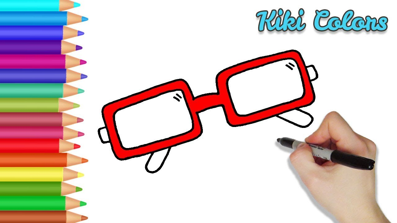 How to Color Glasses | Teach Drawing for Kids and Toddlers Coloring ...