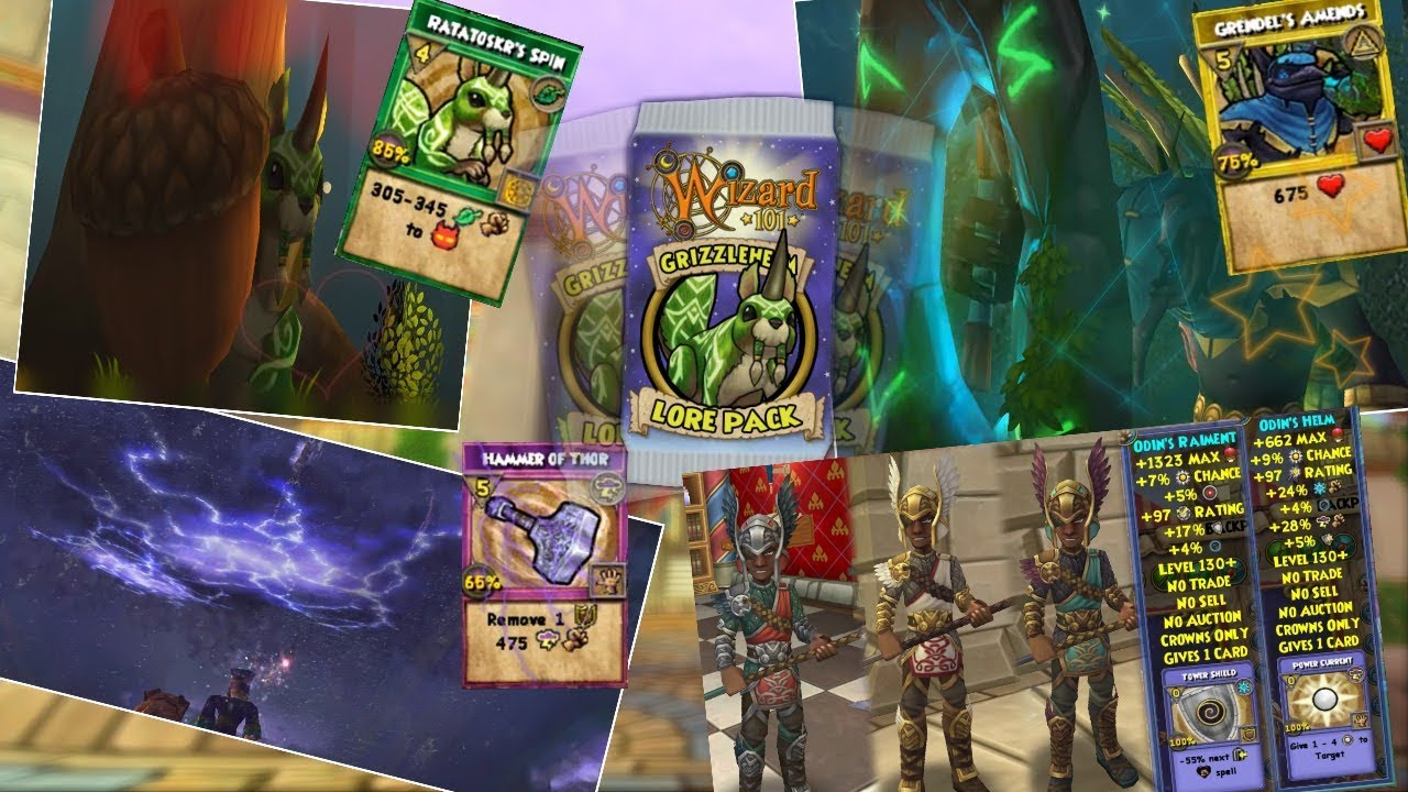 Wizard101: Grizzleheim Lore Pack New Spells & Gear! (THOR'S HAMMER, LIFE  AOE, MYTH HEAL)