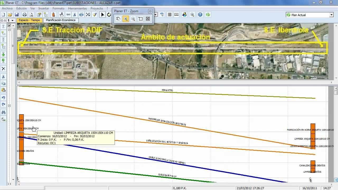 Diagrama Espacios Tiempo Para Obras Con El Software Planer