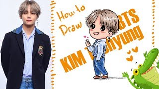 How To Draw and Colour BTS Kim taehyung ~STEP BY STEP EASY
